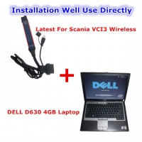 V2.40.1 Scania VCI 3 SDP3 Scanner Wifi Wireless Diagnostic Tool Plus DELL D630 Laptop 4GB Ready to Use