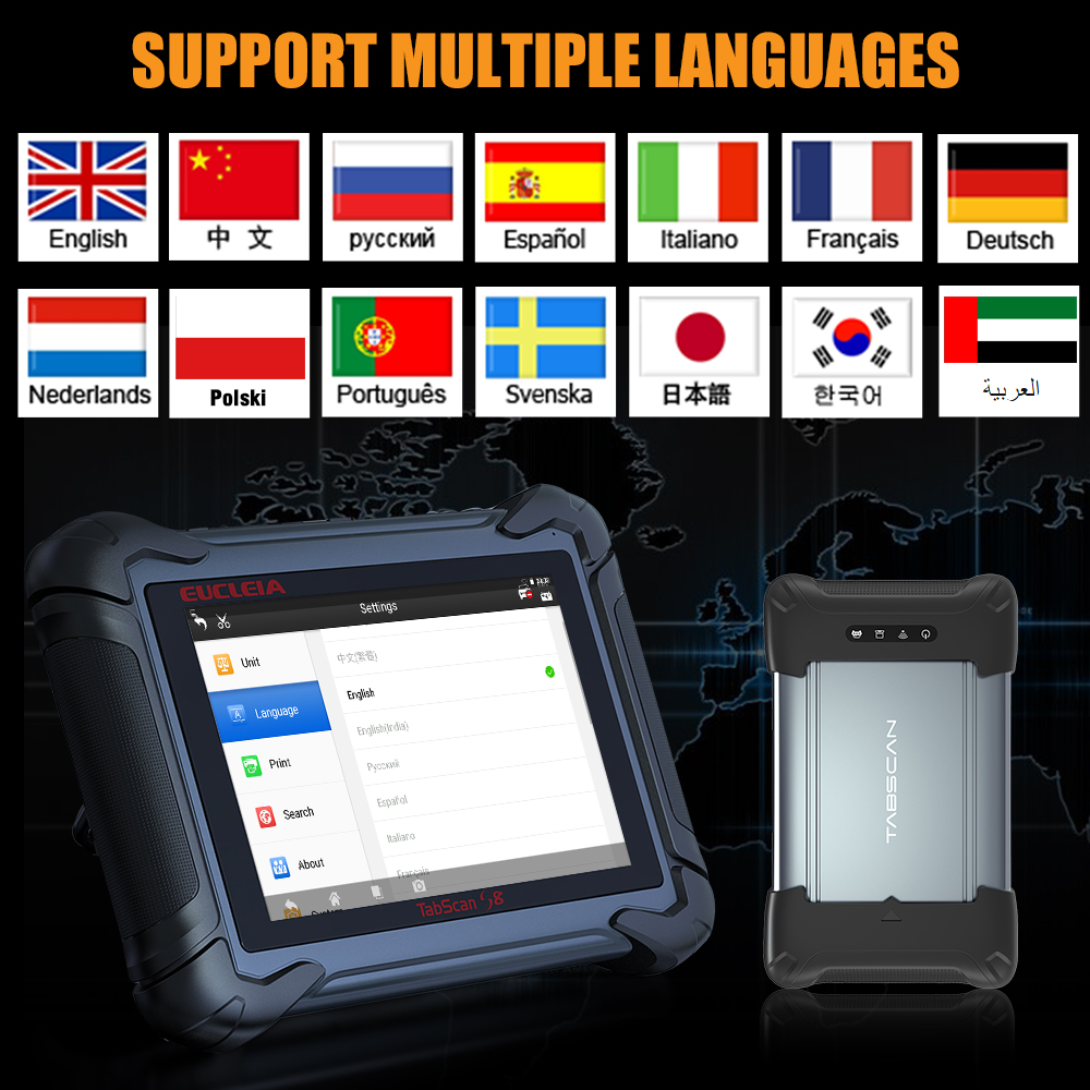 EUCLEIA TabScan S8 Support Language