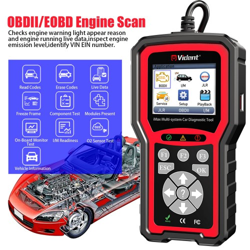 VIDENT iMax4303 JLR full system Scanner for Jaguar and Land Rover Reset OBDII  Diagnostic Service