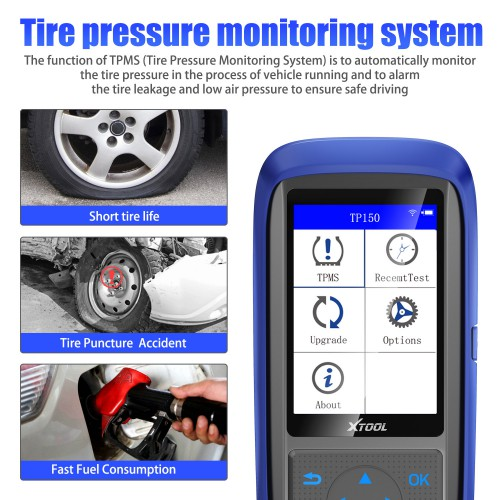 XTOOL TP150 TPMS Tire Pressure Monitoring System OBD2 TPMS Diagnostic Scanner Tool For 315&433 MHZ