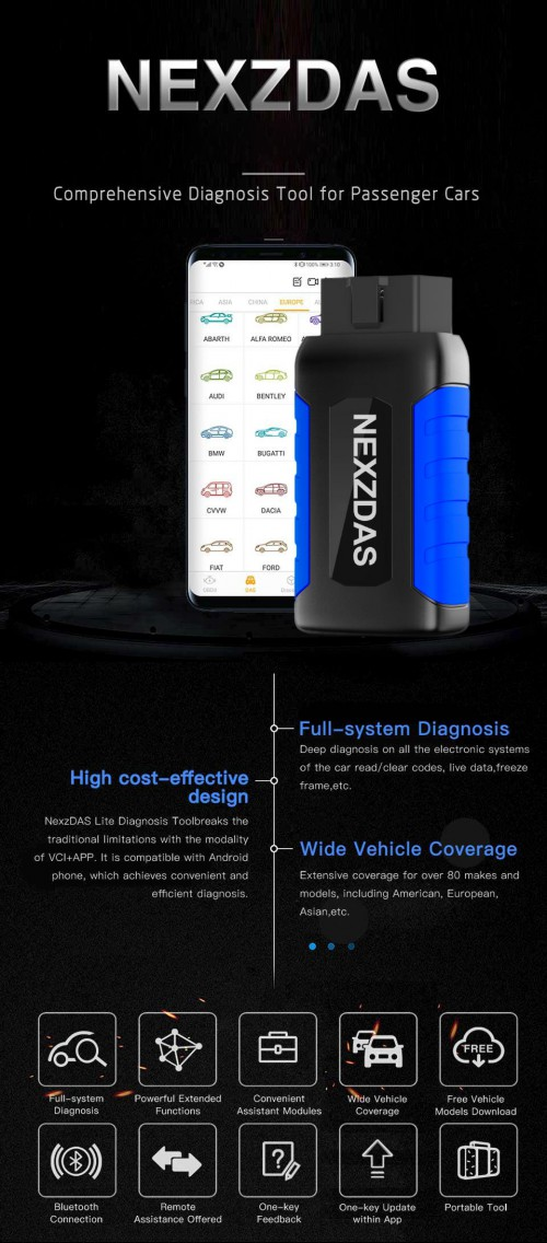 V2.3 HUMZOR NexzDAS Lite Full-System Bluetooth OBDII Diagnostic Tool For Android
