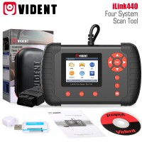 VIDENT iLink440 Four System Scan Tool Supports Engine ABS Air Bag SRS EPB Reset Battery Configuration 3 years free software update