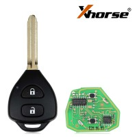 XHORSE XKTO05EN Toyota Style Wired Universal  Remote Key Flat 2 Buttons for VVDI VVDI2 Key Tool 5pcs/lot
